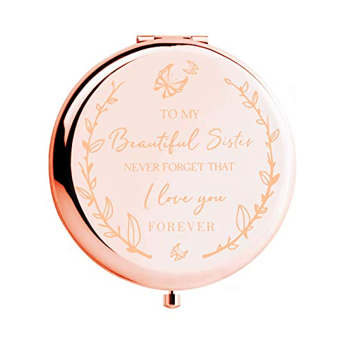 """Sister Birthday Gift Unique - The Best Gift for Sister""""To my Beautiful Sister"""" Rose Gold Compact Mirror,Sisters Birthday Gift Ideas, for Girls, Christmas Graduation Present for Her"""