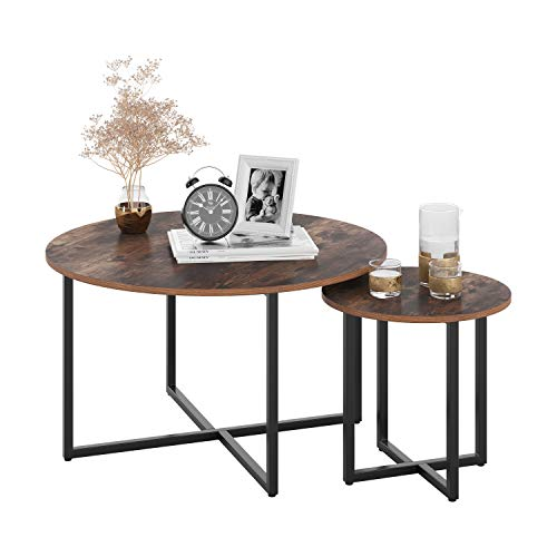 Homfa Round Coffee Table Set of 2 Side Table Industrial Nesting Tables Tea Table Bedside Table with Metal Stand