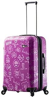 Mia Toro Love This Life-Medallions Hardside 24 Inch Spinner Luggage, Purple