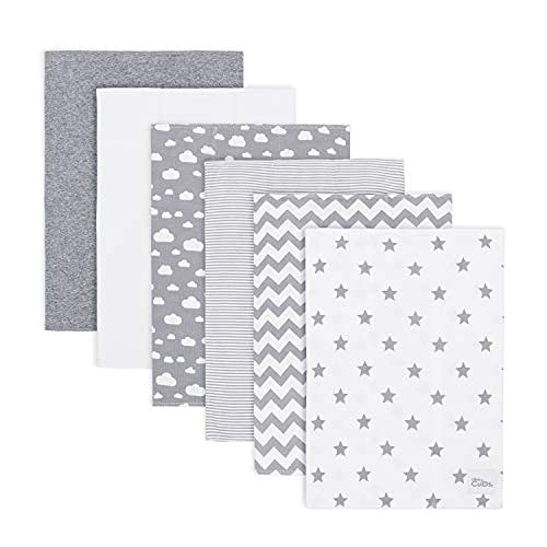 Comfy Cubs Burp Cloths 6 Pack Large 100% Cotton Washcloths Double Layered Burping Cloths Extra Absorbent and Soft for Boys and Girls (Grey Pattern, Pack of 6)