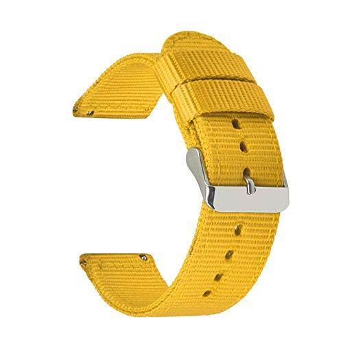 WNFYES Sangle de Nylon Simple Respirant Smart étanche Sport Sangle de dégagement Rapide 18mm 20mm 22mm 24mm Bracelet NATO (Color : Jaune, Size : 24mm)