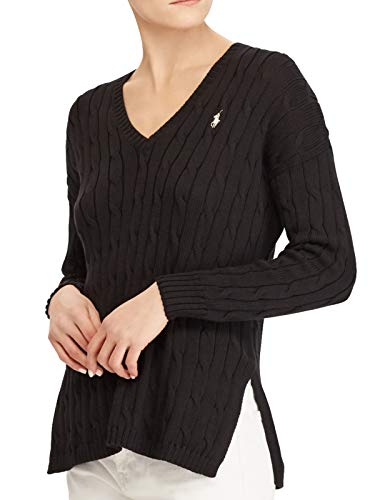 V-neckline Side slits at waist Signature polo pony on left chest Cable knit design