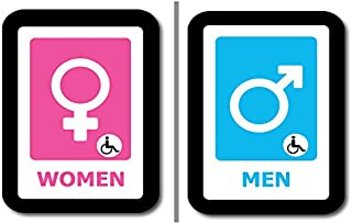 """2 pack Bathroom Signs, Elegant and Modern Restroom Signage for Office, Restaurant Night club or any Store – 7"""" x 8"""" With disable icon."""