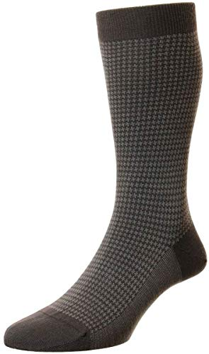 Pantherella Highbury Herren-Socken aus Merinowolle mit Hahnentrittmuster - Braun - Large