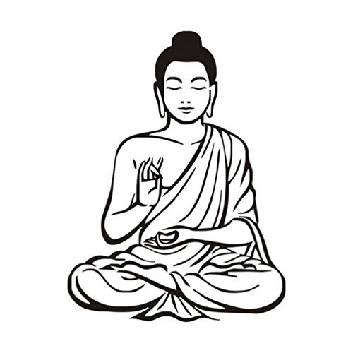 IMIKEYA Buddha Wall Stickers Removable Sitting Buddha Wall Stickers Chinese Buddha Wall Decal for Soccer Lover Home Living Room Bar