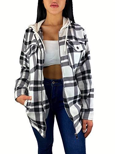 Worldclassca Damen Oversized HOLZFÄLLERHEMD HEMDJACKE MIT Kapuze KARO Hemd KARIERT LANGARMHEND Brusttaschen HEMDBLUSE Bluse Shirt Designer Fashion Blogger NEU XS-L 36-44 (S, M-0)