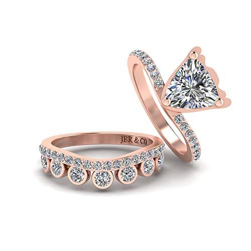 Jbr - Juego de anillos de compromiso de plata de ley de corte triliano, 2 piezas, diamantes blancos para mujer, con micro pavé