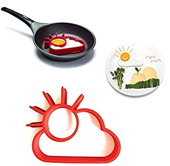 MUAECH Halloween Creative Sun-Cloud Fried Egg Mold,Omelette Molds Silicone Egg Pancake Ring,Reusable DIY Non-Stick Omelette Device,Sun-Cloud Mould Shaped Egg for Kitchen Cooking Breakfast Frying Tool