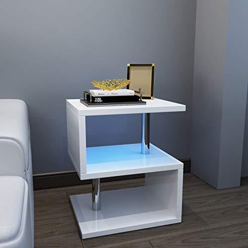 YOLEO Tavolino da caffè con LED, 44x38x52 cm Bianco Lucido in Legno e Metallo, Tavolino Moderni Comodino Basso, per Soggiorno, Camera da Letto, Corridoio, Ufficio