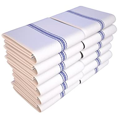 Keeble Outlets One Dozen (12) Kitchen Dish Towels - White - High Quality, Low Lint, Professional Grade 24 oz., 100% Cotton Tea Towel With Herringbone Weave for Exceptional Absorption. Use The Kitchen Towel Preferred by Professional Chefs Around the World - 25.5 in. x 14.5 in.