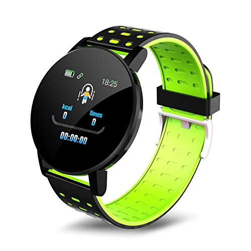 YDL Smart Watch Hombres Presión Arterial SmartWatch Mujeres Mira Sport Tracker Whatsapp para Android iOS Smart Reloj (Color : Green)