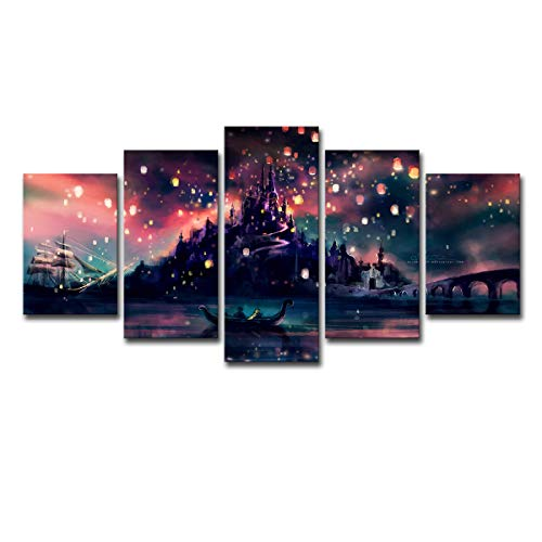 ru ri zhi sheng 5 Piece Modern Wall Art Poster Modular Room Home Decor HD Printed Pictures Frame 5 Pieces Harry Potter Hogwarts Canvas Painting