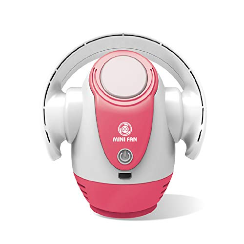 Ventilateur sans Lame Portable USB sans Lame avec Ventilateur de Bureau Portable léger à 5 Vitesses pour la sécurité des Enfants 270 ° Réglez l'angle de l'air d'alimentation, Blanc et Rose