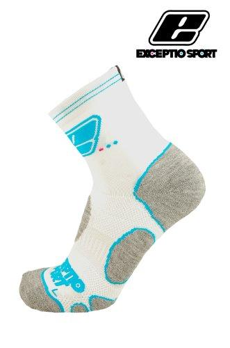 EXCEPTIO White/Blue Elite Pro Cycling/Sports Socks (size 8-12)