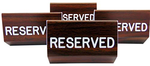 Reserved Sign for Church Pews Multipack with Two Sided Script and Easy Clamp On Attachment, Set of 4
