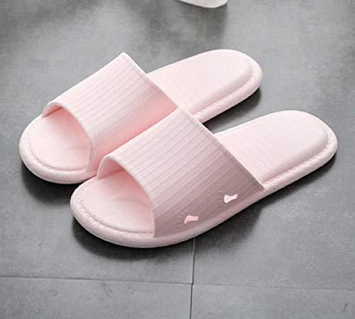 quming Zapatillas De Ducha para Antideslizantes,Sandalias de Confort para el hogar de Verano, Zapatillas de baño Antideslizantes de Suela Blanda-Pink_36-37
