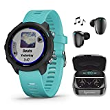 Wearable4U Garmin Forerunner 245 Music, GPS Running Smartwatch with Music and Advanced Dynamics and Included Ultimate Black Earbuds with Charging Power Bank Case Bundle (Aqua Music 010-02120-22)