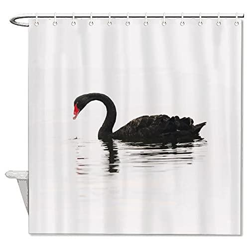 BYRON HOYLE Schöner schwarzer Schwanen-Duschvorhang mit Tiermuster, Duschvorhang mit Ringen, Polyester-Stoff, Duschvorhänge mit Haken, Bad-Dekoration, 152 x 183 cm