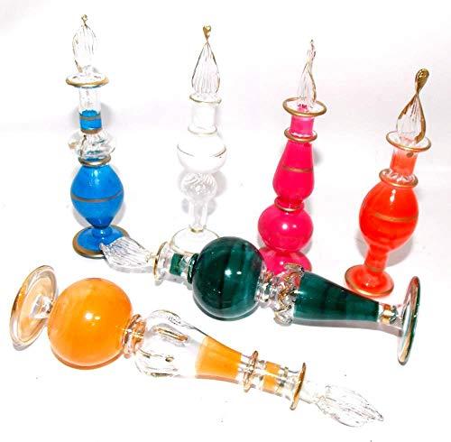 50 Perfumeros egipcios de cristal soplado hechos a mano, Pack 50 unidades, altura 9/12cm Aprox. Una pieza de artesanía