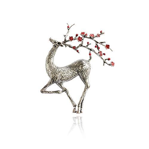 Fylsdes Brooch Christmas Deer Brooch Enamel Reindeer Sika Deer Brooch Nice Beautiful Animal Pin Winter Jewelry Pins Novelty Jewellery (Metallfarbe : Silver)
