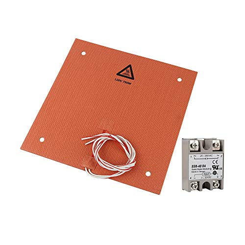 Printer Accessories 300 * 300mm 120V 750W Silicone Heating Pad Heated Bed With Adhesive + SSR Relay DIY Kit for 3D Printer