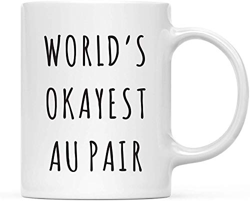 ORANGEW Funny 11oz. Coffee Mug Gag Gift, Playful, World's Okayest Au Pair, 1-Pack with Gift Box
