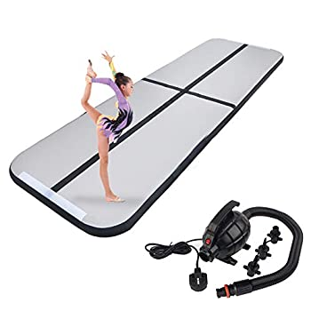 Polar Aurora 9.84ft/13.12ft/16.40ft/19.68ft Air Track Inflatable Tumbling Mat for Gymnastics with Electric Air Pump for Practice Gymnastics  Black 09.84 x3.28 x0.33ft