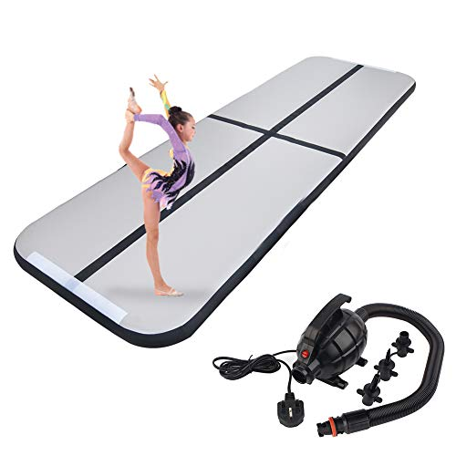 Polar Aurora 9.84ft/13.12ft/16.40ft/19.68ft Air Track Inflatable Tumbling Mat for Gymnastics with Electric Air Pump for Practice Gymnastics (Black, 09.84 x3.28 x0.33ft)