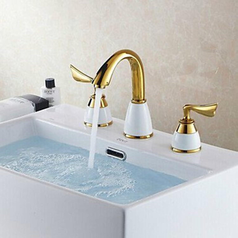 SEEKSUNG Bad Waschbecken Wasserhhne Antik Messing PD Oberflchenbehandlung von Titan Dreiloch-Doppelgriff Badarmaturen