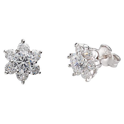 Bossoro Gioielli- pendientes de mujer en plata de ley 925/1000,con circonita blanca cúbica mm.2.75 y circonita blanca central mm.5 ; flores o estrellas; regalo, compromiso, compra personal.