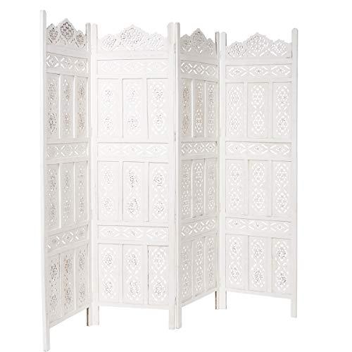 BUTLERS Estella Paravent in Weiß 182x203 cm - Geschnitzer Raumteiler aus lackiertem Holz in Vintage shabby chic