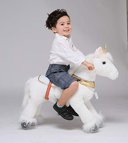 UFREE Horse Best Birthday Present for Boys. Action Pony Toy, Ride on Large 29'' for Children 3 Years Old to 6 years old, Amazing Birthday Surprise.Unicorn with golden horn.