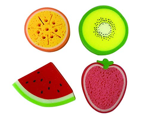 purifyou Premium Kids & Baby Bath Sponges - Set of 4 Fruits (Watermelon, Strawberry, Orange & Kiwi) | for Infants, Toddler Bath Time | Baby Bath Toys | Baby Essentials