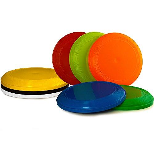 Deuba Frisbeescheiben 8X im Set | 22cm Durchmesser | 62g | Gute Flugeigenschaften Wurfscheibe Frisbeescheibe Super-Disc