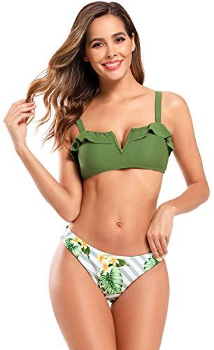 SHEKINI Bikini dames schouderbanden bikini set V-hals bovendeel met jurk ruches sexy luipaard hoge cut broek rugvrij 2-delig