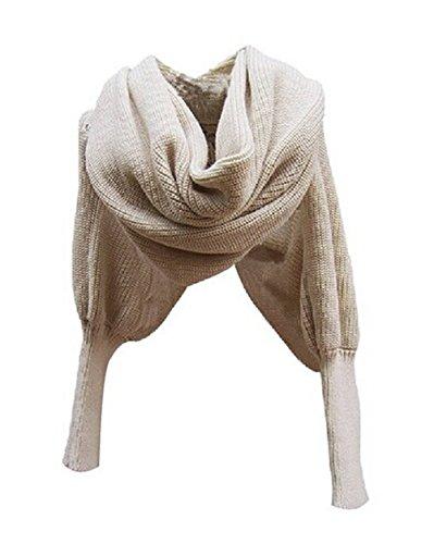 Aidonger Klassische Warm Multifunktions- Schal Stola aus Wolle mit Ärmel (Beige)