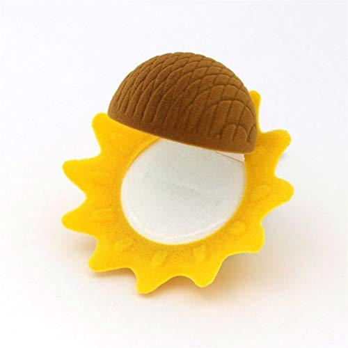 Organizador de Caja de joyería Terciopelo Encantador Amarillo Anillo de Girasol Pendientes Pendientes Presente Cajas de Regalo para la Envoltura de exhibición de Joyas