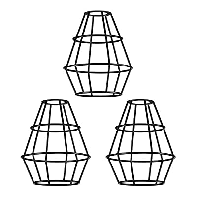 Industrial Black Vintage Style Light Cage Lamp Guard,Metal Lampshade for Hanging Pendant Light Fixture, Antique Lamp Holders Farmhouse Bedroom Dining Room Decoration (3 Packs)