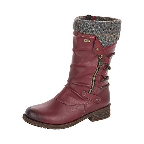 Remonte Damen Stiefel, Frauen Winterstiefel,remonteTEX, Winter-Boots langschaftstiefel gefüttert wasserfest warm,Rot(Wine),38 EU / 5 UK