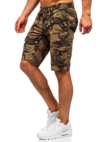 BOLF Herren Hose Kurzehose Sporthose Street Style Camo Army Military Cargohose Sport Style täglicher Stil Nature 6137 Khaki 36 [7G7]