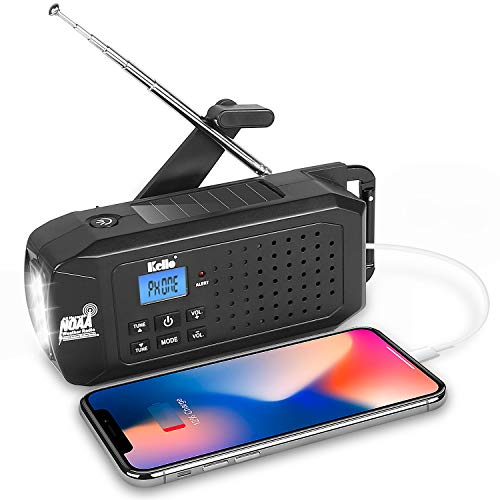 Emergency Solar Hand Crank Portable Radio, NOAA Weather Radio for and Outdoor Emergency with AM/FM, LED Flashlight, Reading Lamp, SOS Alarm,2200mAh Power Bank with USB Charger
