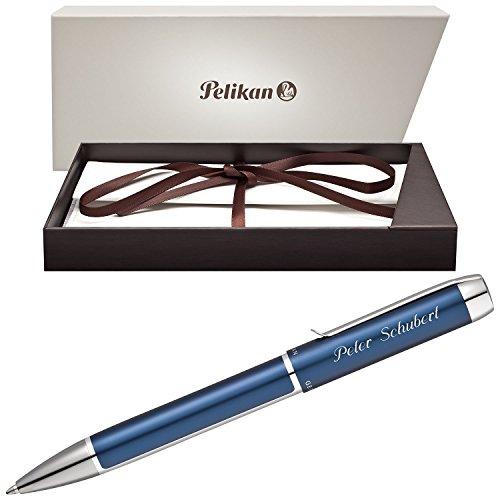 Pelikan Kugelschreiber PURA Blau-Silber mit persönlicher Laser-Gravur aus Aluminium mit Hochglanz verchromten Metallbeschlägen