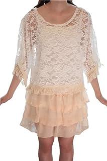 肩をチラ見せ 花柄レースポンチョ ホワイト× ガーリーティアードキャミワンピのセット