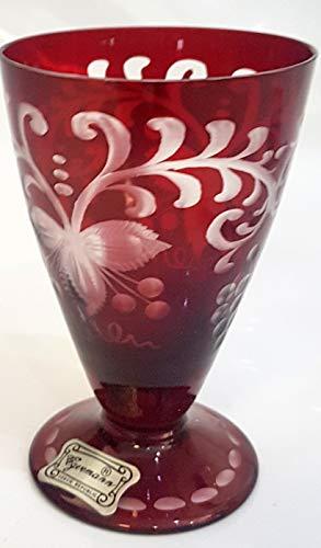 Oberstdorfer Glashütte Egermann Weinglas antik, geschliffen Wein, Sherry, Glas Böhmisches Glas Rubin rot Antik Glas Sammler Glas gebraucht Zustand wie neu Höhe ca. 9,5 cm