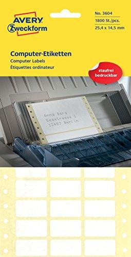 AVERY Zweckform 3604 Computer-Etiketten (Papier matt, 1,800 Etiketten, Computer, 25,4 x 14,5 mm) 1 Pack weiß