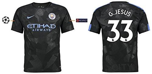 Trikot Herren Manchester City 2017-2018 Third UCL - G.Jesus 33 (XL)