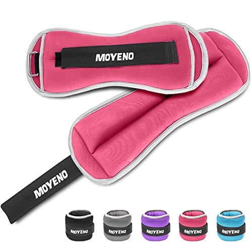Moyeno 1 Pair 6Lbs Adjustable Ankle Weights for Women Men Kids, Wrist Weights Ankle Weights Sets for Gym, Fitness Workout, Running, Lifting Exercise Leg Weights - Each 3 Lbs Pink