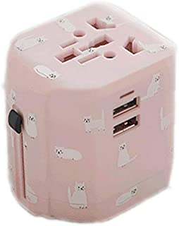 XIMINGJIA-O Power Plug Adapter - International Travel - 2 USB Ports in Over 150 Countries - 100-250 Volt Adapter - (1 Pack) Powder International Converter, (Color : Pink)