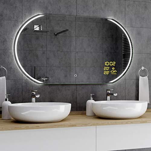 Alasta® Badkamerspiegel met LED-Verlichting - 70x100 cm - Model El Cairo - Spiegel met Aanraaklichtschakelaar en Weerstation P1