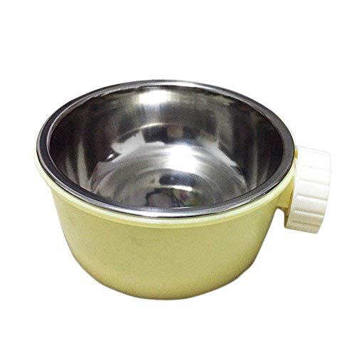 Kragen komfortabel 1 Stück Haustierhundkatze-Schüssel, kreative lustige Edelstahl-Haustierschüsseln, hängender doppelter Schüssel, Haustierschalen für Hunde Katzen-Rosa Waschbar ( Color : Yellow )